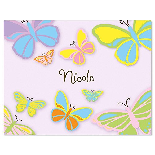 Kids Butterfly Personalized Note Card Set - 24 cards & envelopes