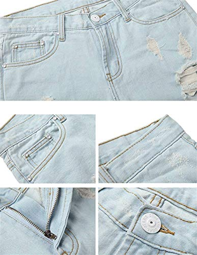 Ladies Hellblau Jeans Corte Trousers Pants Recto Agujero Cintura Betrothales Pantalones Alta Casual Moderno Denim Ripped gUxwU5