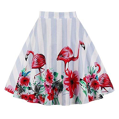 Filfeel Women's Flower Print A-Shaped Flare Skirt Flamingo Striped Pleated Skirt(S) (Striped Lemon Satin)