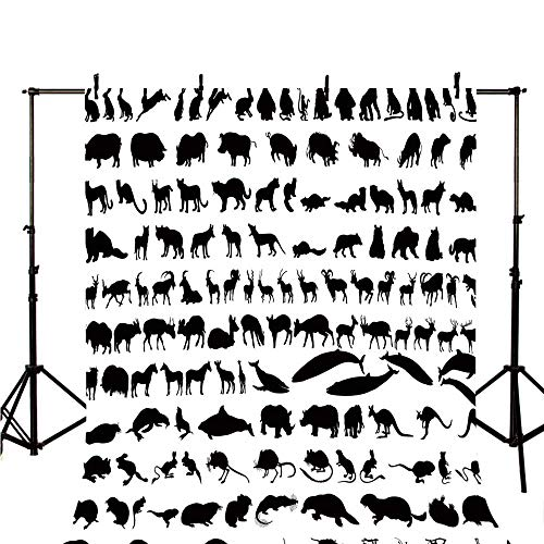 (Zoo Stylish Backdrop,Silhouettes of Animals Big Collection Wildlife Nature Mammals Icons Monochrome Print Decorative for Photography,118
