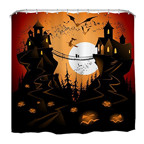 QiyI Halloween Decor Shower Curtain Waterproof Machine Washable Made of 100% Polyester Fabric Easy to Rinse Off and Hang for Bathroom 72