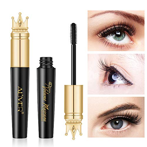 Waterproof Mascara, Natural 4D Silk Fiber Lash Mascara, Lengthening and Thick, Smudge-Proof Eyelashes, Long Lasting Queen Mascara, Dramatic Extension, Long Lasting Charming Eye Makeup