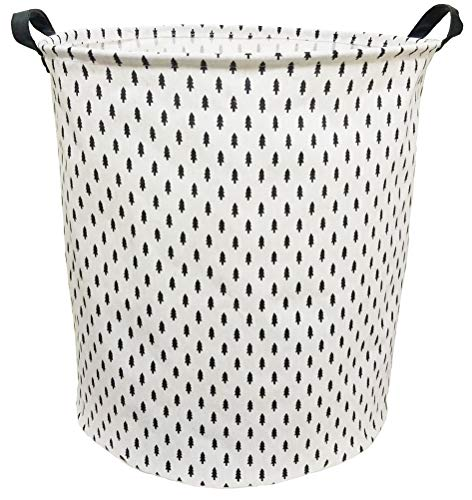 BOOHIT Storage Baskets,Canvas Fabric Laundry Hamper-Collapsible Storage Bin with Handles,Toy Organizer Bin for Kid's Room,Office,Nursery Hamper, Home Decor(Pine Tree)