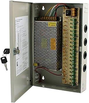 RPS Fuente de alimentación con Caja Metalica y Llaves incluida para CCTV y cámaras de videovigilancia 33,2x22,6x6,6 cm DC 12V 15A 180W 18CH: Amazon.es: Electrónica
