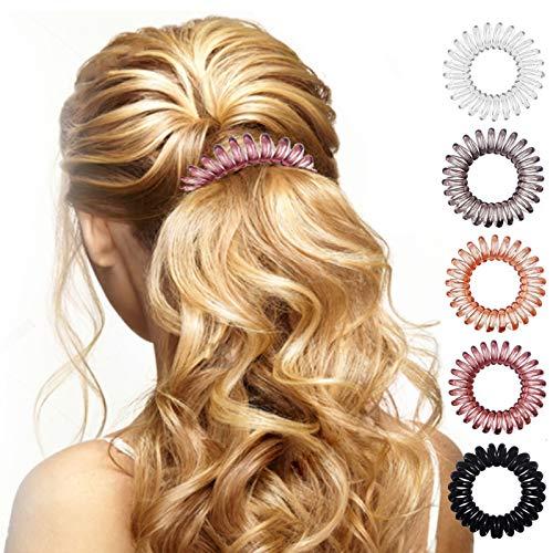 17 Pack Hair Elastics, No Crease Spiral Hair Ties Hair Bands Multi Color Waterproof Phone Cord Hair Scrunchies Hair CoilsAccessories for Women Girls
