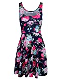 Tom's Ware Womens Casual Fit and Flare Floral Sleeveless Dress TWCWD054-NAVY-US M