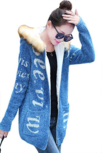 Pink Queen Suede Letter Print Hoodies Sweater Winter Coat Blue