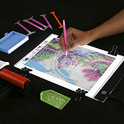 Plastic Tray A5 LED Light Tablet Board with Carry Bag,Dorhui 35 Pieces Diamond Painting Tool Include A4 LED Light Pad Diamond Stitch Pen Stand Holder and Diamond Embroidery Diamond Painting Roller