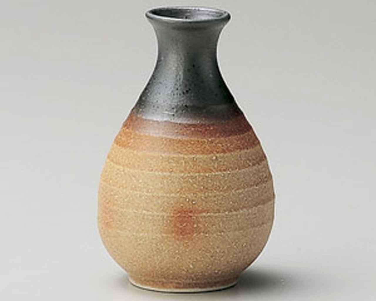 Sumi-Kogashi 2.8inch Set of 10 Sake carafes Beige Ceramic Made in Japan