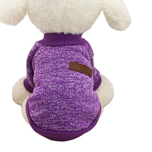 Mikey Store Pet Dog Clothes Soft Thickening Warm Stripe Polar Fleece Winter Clothes (Purple, M)