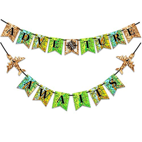 Large Size Adventure Awaits Banner Travel Themed Party Supplies Bon Voyage Banner for Happy Retirement, Graduation Decorations, Baby Shower, Farewell, Outdoor Camping, Wedding, Birthday Party