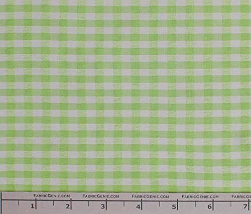 Classic Checkered Searssucker Plaid Fabric, Seerssucker Plaid Fabric, Seersucker Shirting Fabric - LIME / 2 Yard Bolt - Plaid Fabric Seersucker