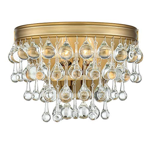 Crystal Sconce Bellacor (Crystorama 132-VG Calypso - Two Light Wall Sconce, Vibrant Gold Finish with Clear Drops Crystal)