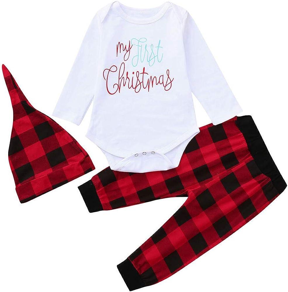 Amazon Com Kimanli Toddler Baby 3pc Set Suit Boy Girl Girls Christmas Plaid Romper Kit Casual Set Clothing