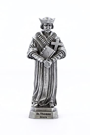 Pewter Catholic Saint St Thomas More Statue with Laminated Prayer Card, 3 1 2 Inch