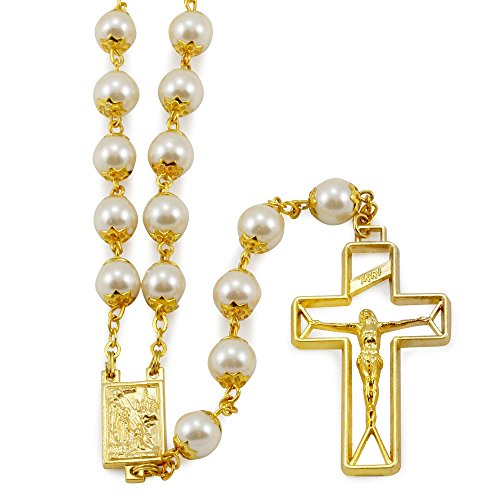 Gold Tone Rosary with Cream Glass Capped Beads