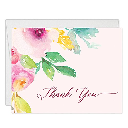 50 ct Thank You Cards with Envelopes (Pack of 50) Blush Pink Folded Thank You Notes Excellent Value Floral Thank You Notecards VT0002 by Digibuddha