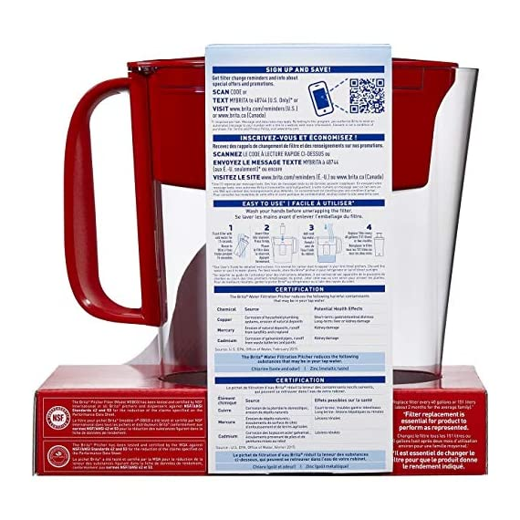 """Brita Small 5 Cup Metro Water Pitcher with Filter - BPA Free 3 SMALL WATER PITCHER: This small, plastic water filtration pitcher is easy to pour and refill. The space efficient pitcher fits perfectly on refrigerator shelves and is great for families. Height 9.8""""; Width 4.45""""; Length/Depth 9.37""""; Weight 1.39 pounds CLEANER AND GREAT TASTING: The BPA free Brita filter reduces chlorine (taste and odor), copper, mercury, zinc and cadmium impurities found in tap water for cleaner great tasting water. *Substances reduced may not be in all users' water FILTER CHANGE REMINDER: For optimum performance, a helpful status indicator on your filtered water pitcher notifies you when your water filter needs to be replaced"""