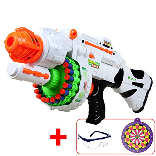 - GFEI Rampage Elite Toy Blaster with,Electric Drive, Continuous Launch, 20 Official Elite Foam Darts for Kids, Teens, and Adults,White,60darts