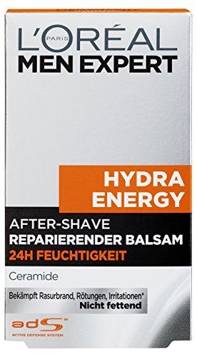 L'Oréal Men Expert Aftershave Balsam Hydra Energy reparierende After Shave Lotion pflegt nach der Rasur / 24h Anti-Austrocknung (dermatologich getestet, ohne Alkohol, schnell einziehend, fettet nicht) 1 x 100 ml
