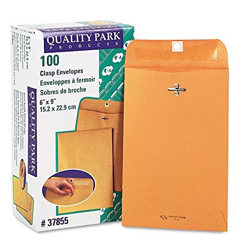 Quality Park 37855 Gummed Clasp Envelope, 28Lb, 6''x9'', 100/BX, Kraft by Quality Park
