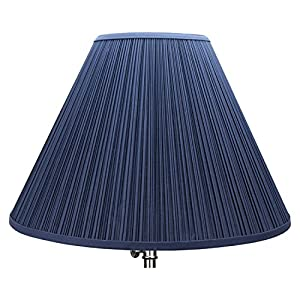 "FenchelShades.com Lampshade 7"" Top Diameter x 18"" Bottom Diameter x 13"" Slant Height with Washer (Spider) Attachment for Lamps with a Harp (Pleated Navy Blue)"