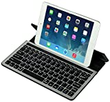eJiasu Aluminum Bluetooth Keyboard for Tablet,Wireless Keyboards with Built-in Stand for iOS iPad Air 2/Air,iPad mini 3/mini 2/mini,iPad 4/3/2,Galaxy Tabs Android Tablets,Windows Mobile Device (Black)