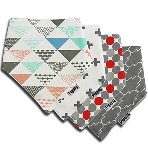 Baby Bandana Drool Bibs with Snaps by , Unisex 4 Pack Soft