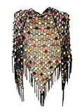 tinacrochetstudio Crochet Shawl Scarf Fringe Multi Wear Tops