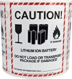 Caution Lithium Ion Battery Transport Warning Labels 4 x 4 3/4 Inch 500 Adhesive Stickers