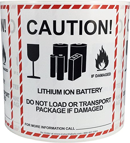 Label Batteries (Caution Lithium Ion Battery Transport Warning Labels 4 x 4 3/4 Inch 500 Adhesive Stickers)