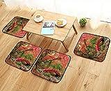 UHOO2018 Chair Cushions Japanese Garden and red Bridge Non Slip Comfortable W25.5 x L25.5/4PCS Set