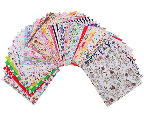Penta Angel 4 x 4 Inch/10 x 10cm 100 Pieces Assorted Pre-Cut Printing Cotton Cloth Square Bundle Quilt Craft Fabric Patchwork DIY Sewing Scrapbooking Quilting Dot Pattern (100 pcs)
