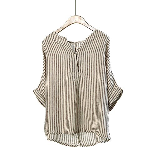 Johnature Women Linen Striped Shirts 2017 Summer New Bat Sleeve Casual Blouses Japanese Style Loose Vintage Brief Top Beach Shirts (Brown)