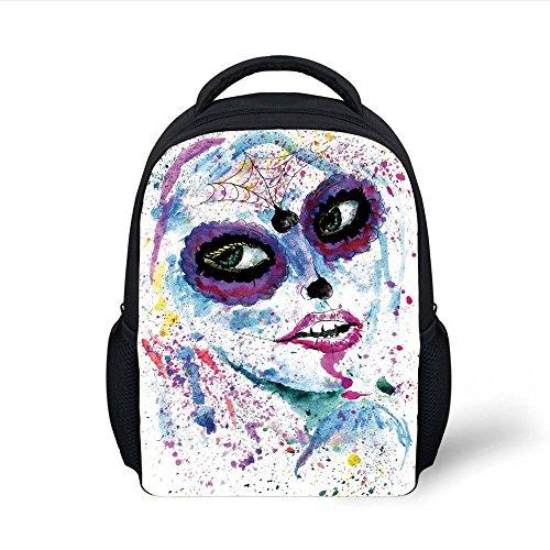 iPrint Kids School Backpack Girls,Grunge Halloween Lady with Sugar Skull Make Up Creepy Dead Face Gothic Woman Artsy,Blue Purple Plain Bookbag Travel Daypack ()