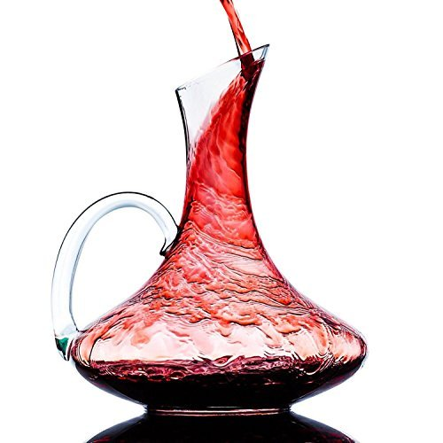 Wine Decanter, Wine Carafe Hand-Blown Crystal Wide Base Aerator for Vivid Aerating (With Handle)