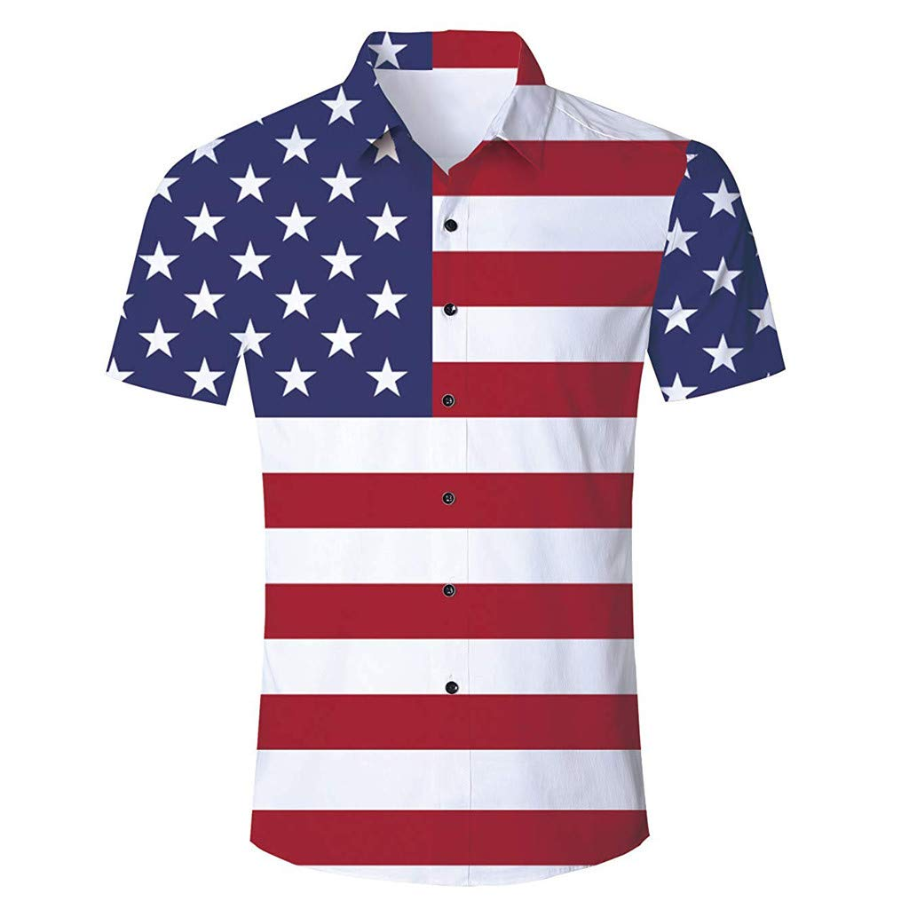 Bohelly Fashion Summer Men Button Blouse July 4th Independence Day America Flag Printed Short-Sleeved Shirts