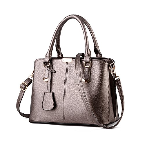 YIJI PU Leather Womens Shoulder Bags Top-Handle Handbag (Copper Metallic Leather Handbags)