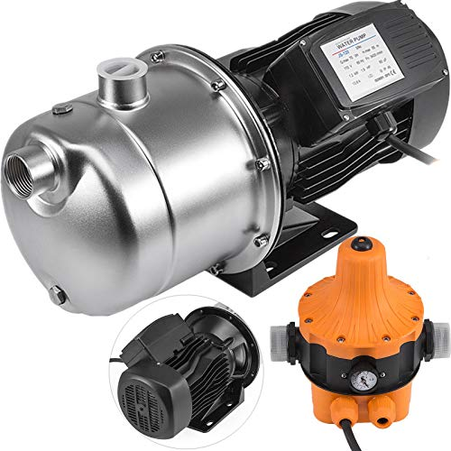 Happybuy Shallow Well Jet Pump with Pressure Switch 1.6HP Jet Water Pump 180 ft Stainless Steel Jet Pump to Supply Fresh Well Water to Residential Homes Farms Cabins