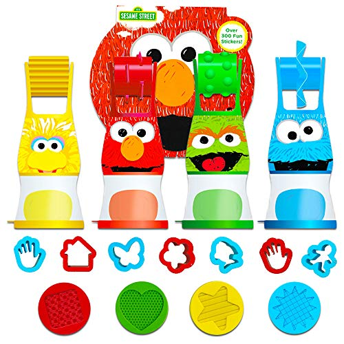 Sesame Street Elmo Party Favor Set for Toddlers Kids ~ 24-Pc Bundle with Clay Dough, Dough Roller, Molds, and Stickers (Party Supplies) -