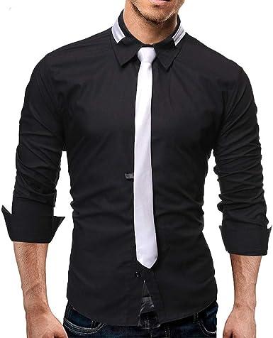 Gugavivid Camisas de Trabajo de Negocios de Empalme para Hombre con Corbata, Caballeros Masculinos Blusas con Botones Ajustados: Amazon.es: Ropa y accesorios