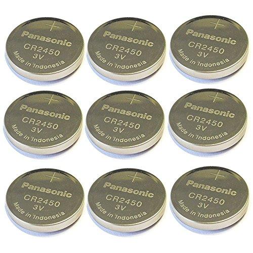9pc Panasonic Cr2450 3v Coin Lithium Battery, REMOTE KEYLESS ENTRY TRANSMITTER FOB Battery