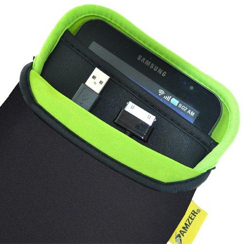 ee87120fee5c Amzer 7.5 inch Neoprene Sleeve Case Cover with Pocket for Amazon Kindle  Fire Samsung GALAXY Tab GT-P1000 Toshiba Thrive 7 - Matt Black Leaf Green   ...