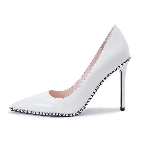 Amazon Womens Fashion Pointed Toe Genuine Leather High Heel