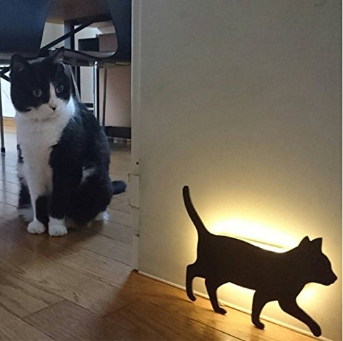 Lucktao novelty cat acrylic night light cute animal marquee sound control led Lamp on wall paste sound control Figure light LED wall light activated silhouette sensor nightlight (cat1)