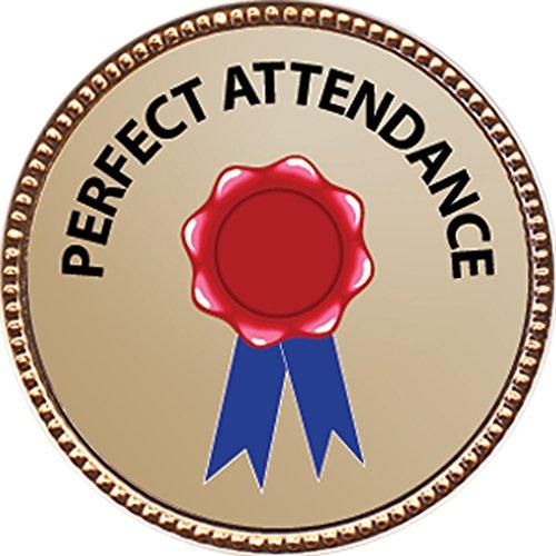 [Perfect Attendance Award, 1 inch dia Gold Pin