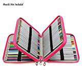 (US) Gam3Gear Delux 120 Slots Pencil Case Multi-layer PU Leather Colored Pencil Holder Rosy Red