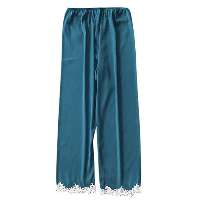 468cf2b18f0 Proumy Pantalones Largos de Dormir Conjunto de Pijamas Verano Mujer Pieza  Pijama de Encaje Blanca Bata