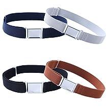 4PCS Boys Adjustable Magnetic Belt - Kids Elastic Belt with Easy Magnetic Buckle