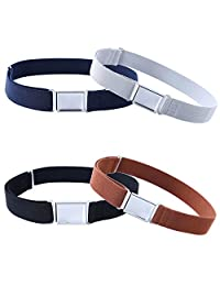 4PCS Kids Boys Adjustable Magnetic Belt - Elastic Belt with Easy Magnetic Buckle (Navy Blue/Grey/Black/Brown)